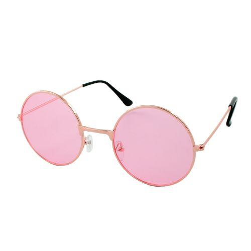 Loud and Clear ronde zonnebril metaal goud | roze glazen