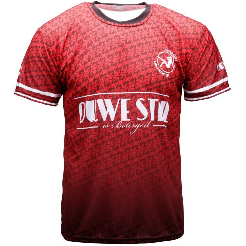 Ouwe stijl is botergeil soccer T-shirt | rood 004